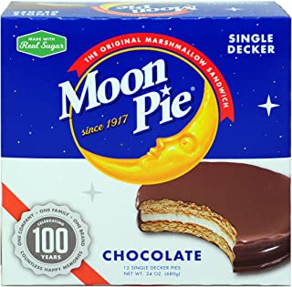 MoonPie Single Decker Chocolate Marshmallow Sandwich - 2oz, 12Count Box (Pack of 8 Boxes, 96Count Total) | Chocolate Covered Graham Cracker & Marshmallow Pie