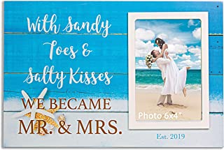 VILIGHT Beach Wedding Engagement Keepsake 2019 Couples Gifts - Mr & Mrs est 2019 Picture Frame Sign for 4x6 Inches Photo