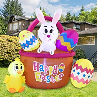 Joiedomi Easter Inflatable Outdoor Decoration 6 ft Long Easter Basket with Build-in LEDs Blow Up Inflatables for Easter Ho...