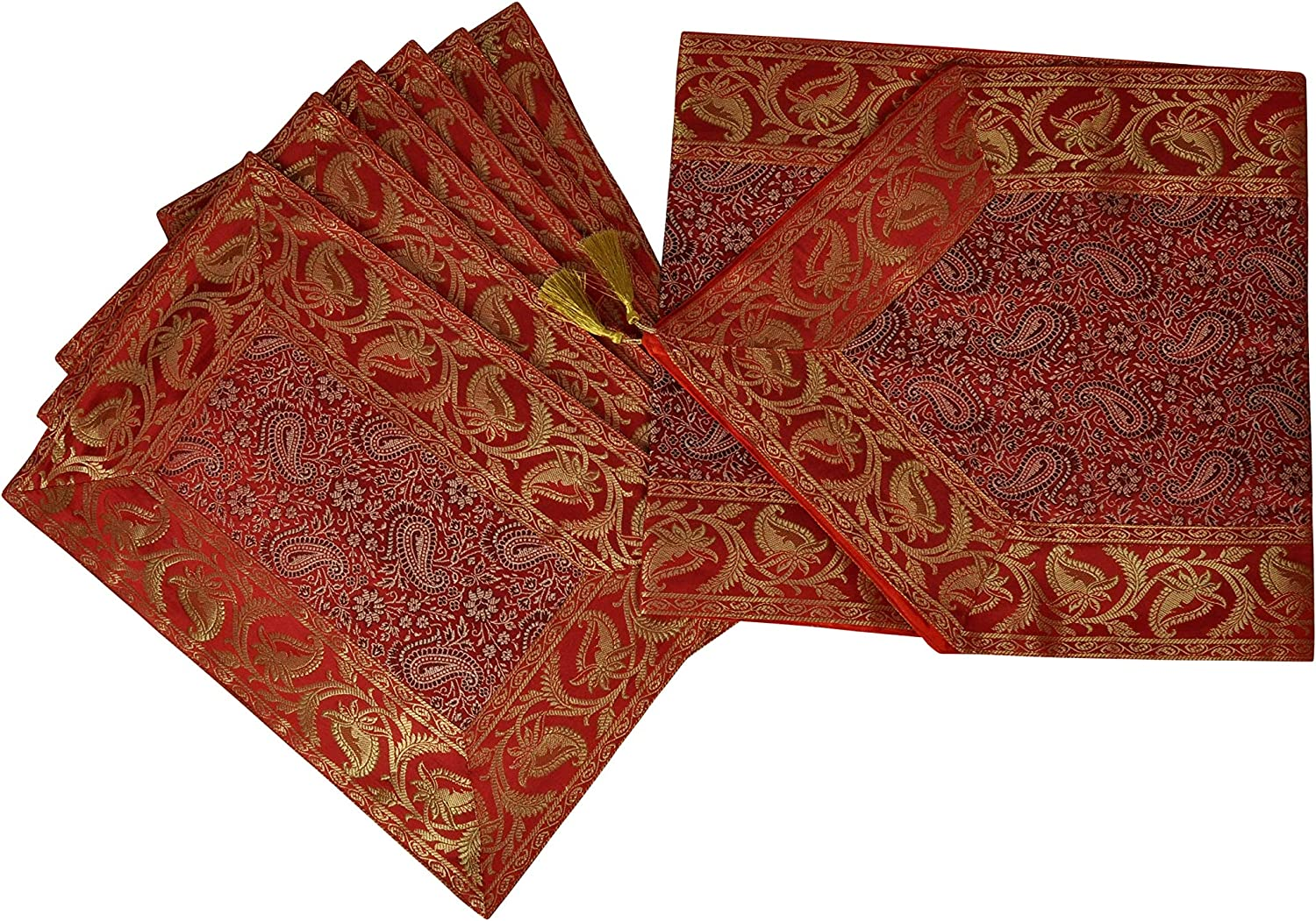 Lalhaveli Dining 2021new shipping free shipping sold out Table Decorative Red Silk Pla with Runner