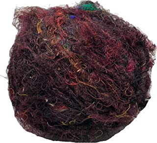 KNITSILK Premium Recycled Sari Silk Yarn - Brown/Maroon - 1 Ball, 90 Yards - Knit, Crochet, jewelery - Ethical Yarn