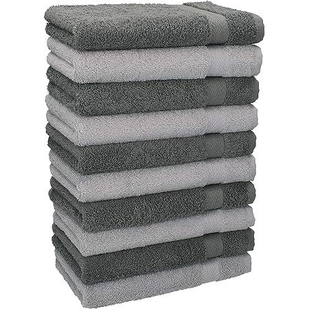 Betz Lot de 10 Serviettes débarbouillettes lavettes Taille 30x30 cm en 100% Coton Premium Couleur Gris Anthracite & Gris argenté