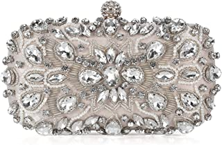 UBORSE Women Noble Crystal Beaded Evening Bag Wedding Clutch Purse