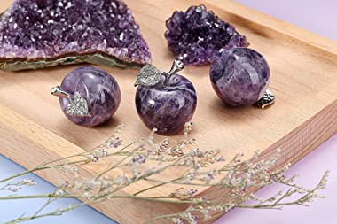 Top Plaza Amethyst Crystals Healing Crystals Stone Decors 1.2 Inch Carved Polished Natural Gemstone Apple Crafts Statue Figur