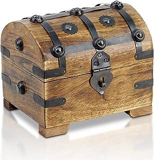 comprar comparacion Brynnberg - Caja de Madera Cofre del Tesoro Pirata de Estilo Vintage, Hecha a Mano, Diseño Retro 14x11x13cm