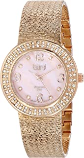 Burgi Women's BUR097 Crystal Accented Gold Swiss Quartz Watch with Mother of Pearl Dial and Gold Bracelet