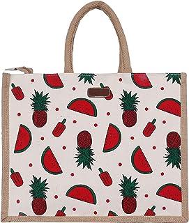 ECOTARA Frooty 100% Natural Jute Shopping & Vegetable Bag-Green (Large)