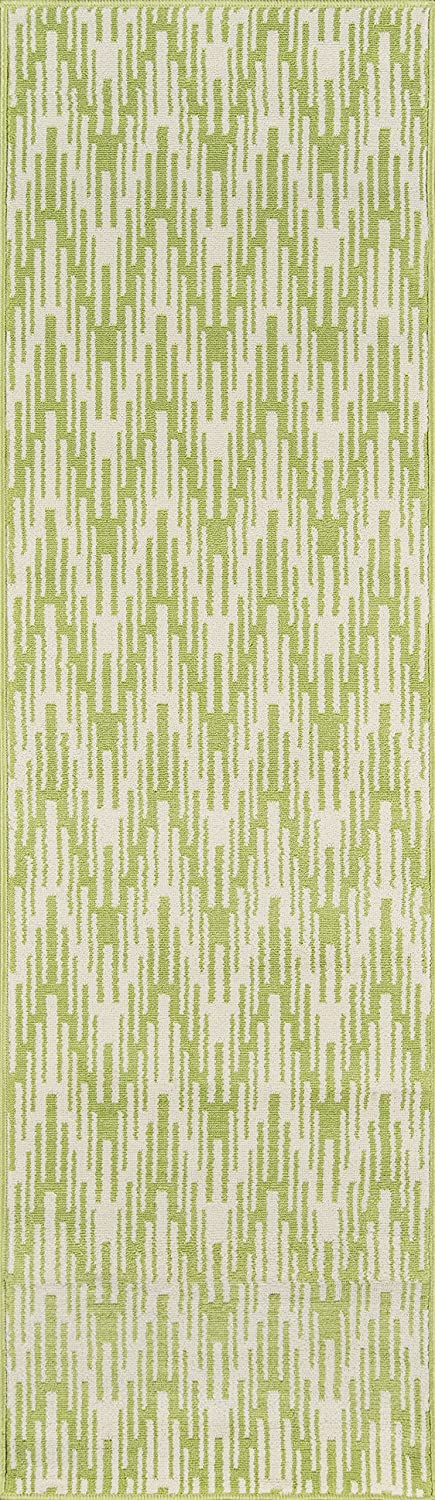 Momeni Rugs Baja Collection Contemporary Indoor & Outdoor Area Rug, Easy to Clean, UV predected & Fade Resistant, 2'3  x 7'6  Runner, Green