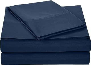 AmazonBasics Light-Weight Microfiber Sheet Set - Twin, Navy Blue, 4-Pack