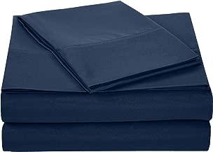 AmazonBasics Light-Weight Microfiber Sheet Set - Twin, Navy Blue