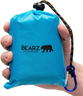 BEARZ Outdoor Beach Blanket, Waterproof Picnic Blanket 55″x60″ - Lightweight Camping Tarp, Compact Pocket Bl...