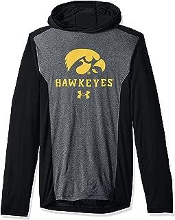 Under Armour NCAA Iowa Hawkeyes Mens NCAA Men's Triblend Hooded Long Sleeve Tee, Small, Black