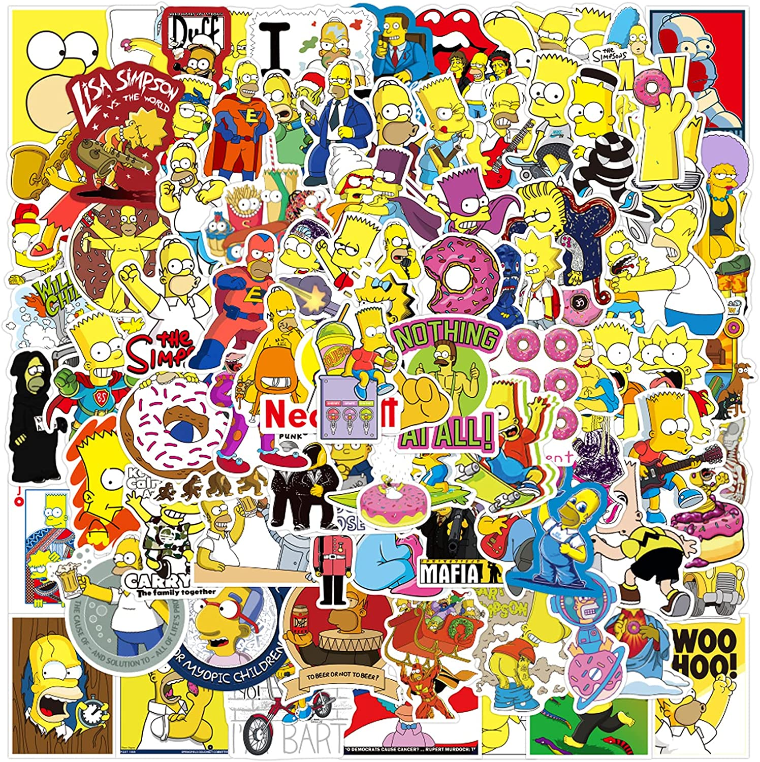 100PCS The Simpson Stickers Funny Laptop Stickers Pack Cool Cartoon Waterproof Decals for Car, Hydro Flasks, Water Bottle, Skateboard