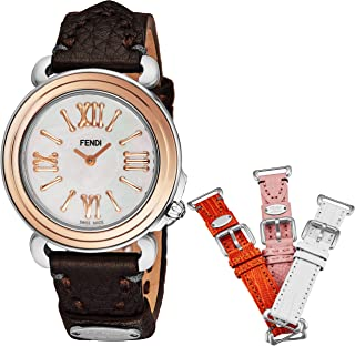 Fendi Selleria レディース 腕時計セット 交換可能なバンド - 真珠の顔 スイス製ドレスウォッチ - ブラウン、オレンジ、ピンク、ホワイトレザーバンド ステンレススチール ローズゴールド レディースウォッチ F8012345H0