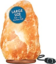Large Himalayan Rock Salt Lamp Pink Salt Crystal Natural Authentic Hand Carved Decor Lighting Dimmable – 8.5-10 Inches Tall