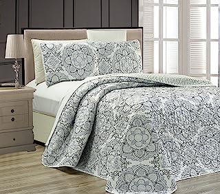 Linen Plus King/California King 3pc Reversible Oversized Bedspread Set Medallion Print Light Grey White Black New