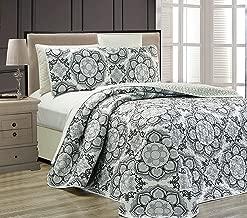 King/California King 3pc Reversible Oversized Bedspread Set Medallion Print Light Grey White Black