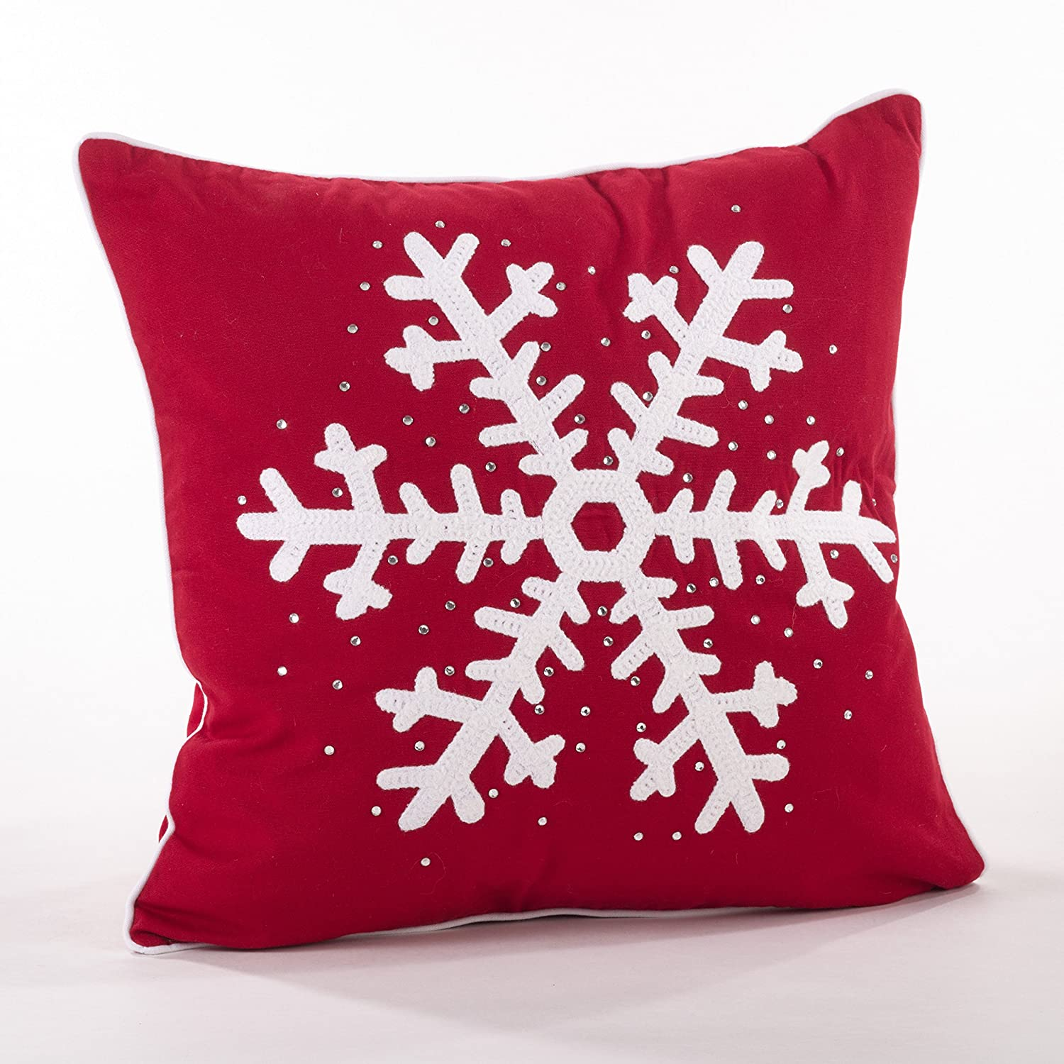Fennco Styles Home Décor Happy Holiday Decorative Studded Snowflake Throw Pillow (Single Snowflake)