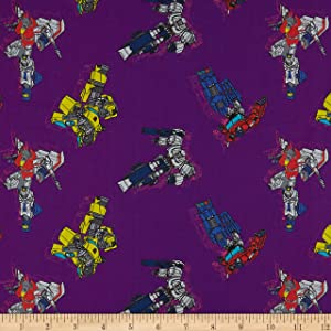 Eugene Textiles Camelot Hasbro Transformers in Action Purple, Fabric by the Yard
