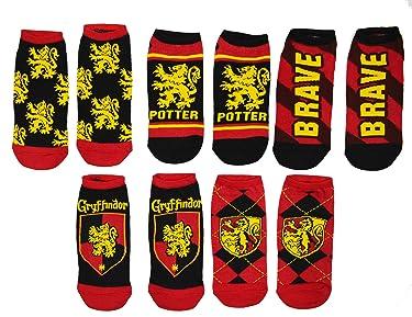 Harry Potter 5 Pack No Show Ankle Socks (Gryffindor), Large