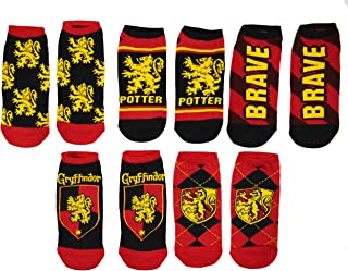Harry Potter 5 Pack Gryffindor Ravenclaw Huffle Puff Slytherin House No Show Ankle Socks