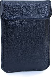 RFID Blocking Phone Purse Bag Genuine Leather Silence Pouch Passport Sleeve Anti-Radiation for Pregnant Women(Balck)