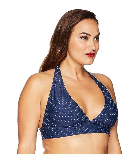 Unique Vintage Plus Size Lulu Halter Swim Top Navy/Ivory Pin Dot Cheap Sale Cheap Shopping Discounts Online Store Online eS4vZeuXS