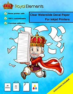 Royal Elements Waterslide Decal Paper - Clear for Inkjet Printers - 20 Sheets