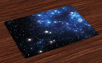 Ambesonne Constellation Place Mats Set of 4, Outer Space Star Nebula Astral Cluster Astronomy Theme Galaxy Mystery, Washable Fabric Placemats for Dining Room Kitchen Table Decor, Blue Black White