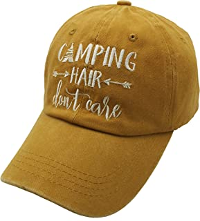 Waldeal Embroidered Unisex Camping Hair Don't Care Vintage Distressed Dad Hat Adjustable Baseball Cap Yellow