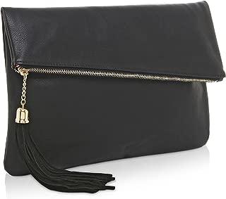 Foldover Clutch Purse/Fashion Evening Handbag with Tassel