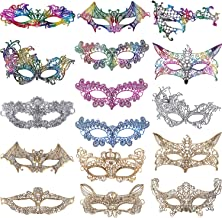 Jovitec 16 Pieces Lace Masquerade Mask Women Venetian Style Eyemask for Halloween Carnival Party Prom Ball Fancy Dress Multicolor (Style A)
