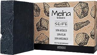 Meina Naturkosmetik - Schwarze Seife mit Aktivkohle 1 x 100 g Palmölfrei, Natürlich, Vegan, Handgemacht, Bio Naturseife - Körperpflege und Gesichtspflege