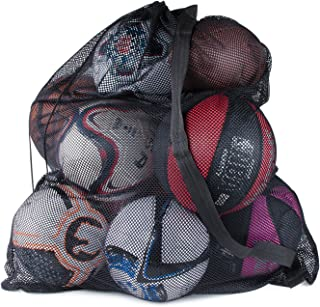 Super Z Outlet Sports Ball Bag Drawstring Mesh - Extra Large Professional Equipment with Shoulder Strap Black (30
