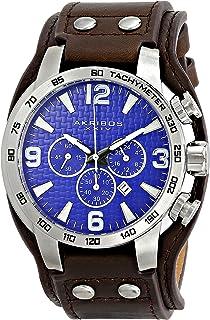 Akribos XXIV Men's AK727 Chronograph Quartz Movement Watch with Genuine Leather Strap