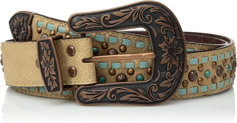 Nocona 本店 Belt Co. Women's Turquoise Buck 高級 Stud Copper Buckle