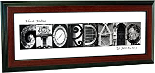 Personalized Name in Black and White Architecture From Original Alphabet Photograph Letters for Personalized Gift, Anniversary, Baby Name (Mahogany Frame)