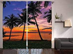 Ambesonne Tropical Curtains, Exotic Palm Trees Pattern with Beach and Ocean Sunset in Hawaii Summer Season, Living Room Bedroom Window Drapes 2 Panel Set, 108