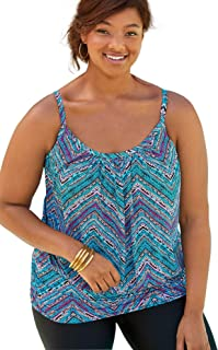 Women's Plus Size Blouson Tankini Top with Shirring
