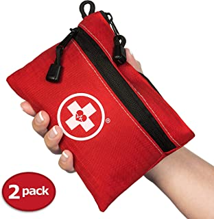 First Aid Kit Pouch (64-Piece): Pocket Sized, Lightweight & Compact with Dual Zippers for Organization (2-Pack)