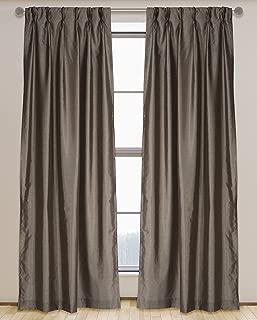LJ Home Fashions 576 ZOI Lined Faux Silk Pinch Pleat Tab Top Curtain Panel Pair, 30