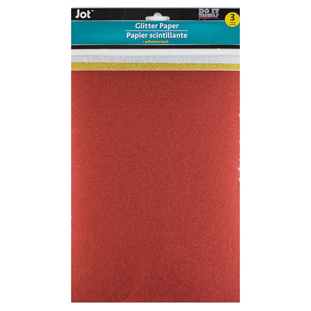 Glitter Paper Adhesive Back 8.5 inches x 11 inches 3 sheets 1 Red 1 Gold 1 Silver