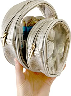 Circle Pouch Set of Two | Clear Round Makeup Bag for Purse or Travel | See Through Circular Handbag, Clutch or Stadium Approved Bag | Perfect for Organizing Small Items in Your Daily Tote (Silver)