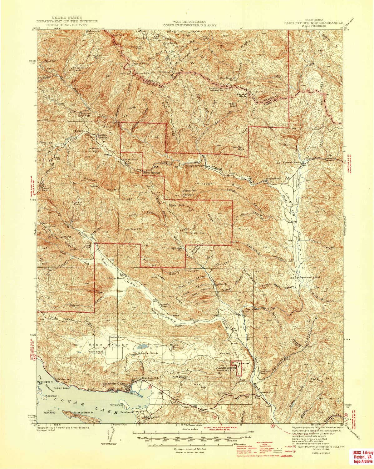 YellowMaps Bartlett Springs CA topo map 15 X 15 Minute Historical 1944 1:62500 Scale 20.8 x 16.6 in