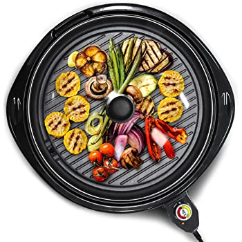 "Elite Gourmet EMG-980B Large Indoor Electric Round Nonstick Grill Cool Touch Fast Heat Up Ideal Low-Fat Meals Easy to Clean Design Dishwasher Safe Includes Glass Lid, 14"", Black"