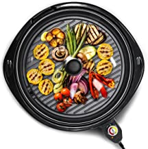Elite Gourmet EMG-980B Large Indoor Electric Round Nonstick Grill Cool Touch Fast Heat Up Ideal Low-Fat Meals Easy to Clea...