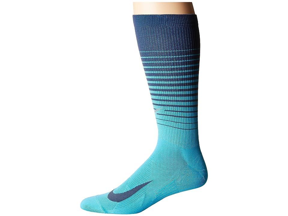 Nike Elite Lightweight Graphic Crew Running Socks (Light Blue Fury/Thunder Blue) Crew Cut Socks Shoes