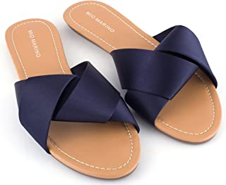 Mio Marino Slide Sandals For Women, Satin Crossband Lady Knot womens slides Enclosed In A Gift Box