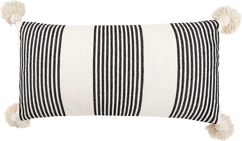Creative Co-Op Cotton Ranking TOP18 Chenille Black Tassels Vertical Manufacturer OFFicial shop Stripes