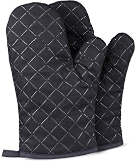 Oven Gloves Heat Resistant - Non Slip Silicon Kitchen Mitts for Grilling/Cooking/Baking/Barbecue - 1 Pair, Black